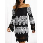 Off-The-Shoulder Laciness Paisley Dress