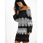 cheap Off-The-Shoulder Laciness Paisley Casual Dress