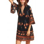 Plunging Neck 3/4 Sleeve Printed Dress deal