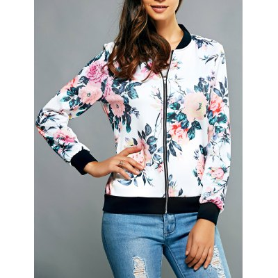 Zippered Floral Print Splicing Jacket
