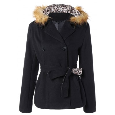 Faux Fur Hooded Double Breasted Slim Fitted  Coat