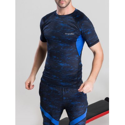 Quick-Dry Color Block Printed Splicing Design Short Sleeve T-ShirtWeight Lifting Clothes<br>Quick-Dry Color Block Printed Splicing Design Short Sleeve T-Shirt<br><br>Material: Polyester<br>Pattern Type: Others<br>Elasticity: Elastic<br>Weight: 0.350kg<br>Package Contents: 1 x T-Shirt