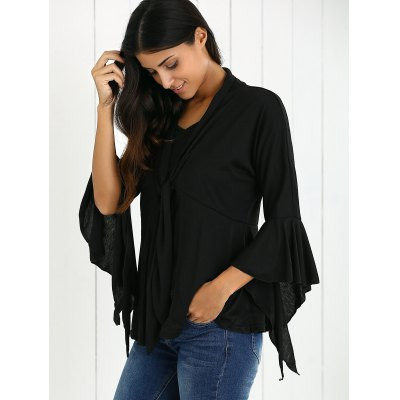 Bell Sleeves Flounced Tied-Up Cardigan