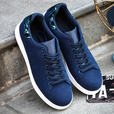Suede Splicing Lace Up Casual Shoes