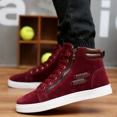 Lace Up Metallic Zipper Suede High Top Casual Shoes