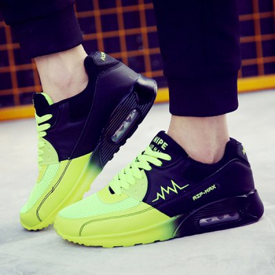 Color Block Lace Up Embroidery Mesh Athletic Shoes