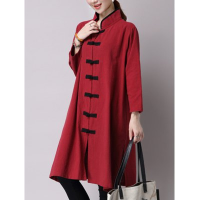 Chinese Style Button Up Slit Long Sleeve Trench Coat
