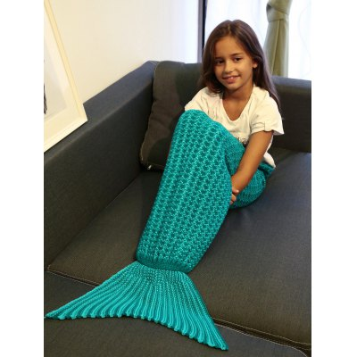 Crochet Style Knitting Mermaid Tail Blanket For Kid