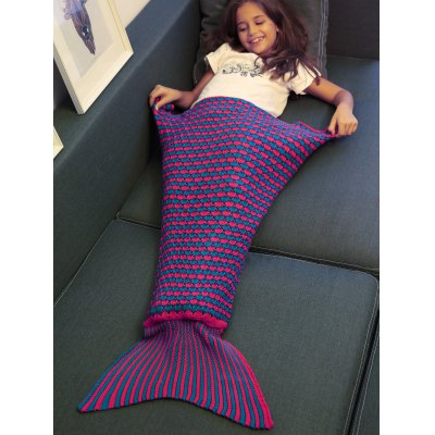 Stripe Pattern Fish Tail Design Knitted Blankets and Throws For Kid