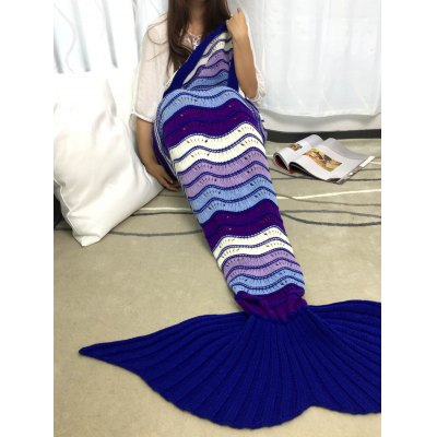Stripe Pattern Acrylic Knitted Mermaid Tail Design Blanket