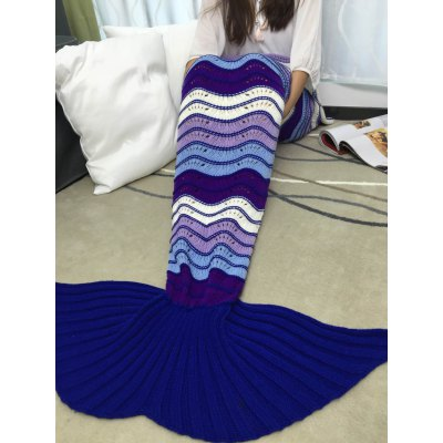 Multi-Colored Stripe Pattern Acrylic Knitted Mermaid Tail Design Blanket
