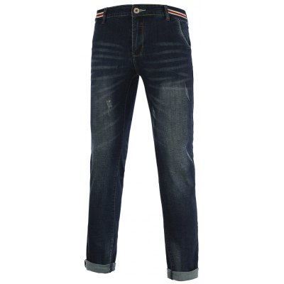 Jeans+Cotton Slimming Straight Leg Embellished Zipper Fly Denim Pants