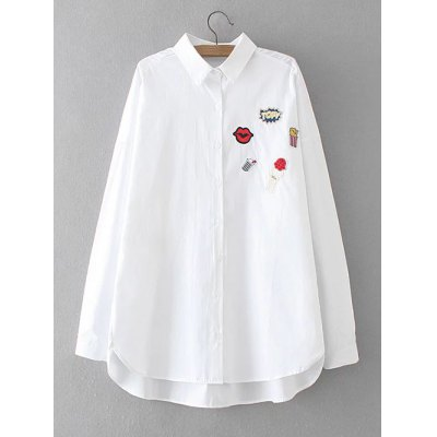 Plus Size Asymmetrical Applique Shirt
