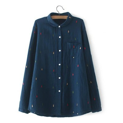 Plus Size Chest Pocket Embroidered Shirt