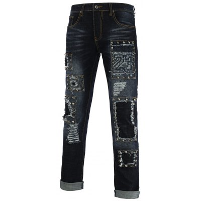 Rivet Embellished Holes and Cat's Whisker Zipper Fly Straight Leg Jeans