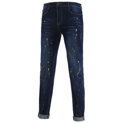 Colorful Splash-Ink Design Zipper Fly Straight Leg Jeans