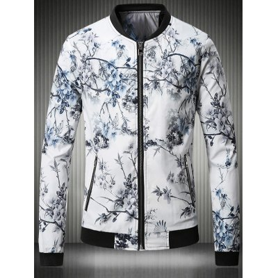 Stand Collar Plus Size 3D Flower Chinese Painting Print Jacket