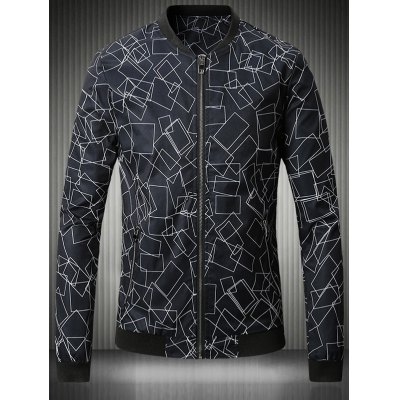Stand Collar Plus Size 3D Box Print Bomber Jacket
