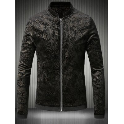Stand Collar Plus Size Gloden Floral Jacquard Velvet Zip-Up Jacket