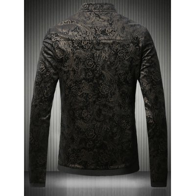 Stand Collar Plus Size Gloden Floral Jacquard Velvet Zip-Up JacketPlus Size Outerwear<br>Stand Collar Plus Size Gloden Floral Jacquard Velvet Zip-Up Jacket<br><br>Clothes Type: Jackets<br>Style: Fashion<br>Material: Cotton,Polyester<br>Collar: Stand Collar<br>Clothing Length: Regular<br>Sleeve Length: Long Sleeves<br>Season: Fall,Spring<br>Weight: 0.750kg<br>Package Contents: 1 x Jacket