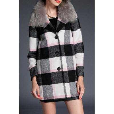 Wool Blend Plaid Fur Collar Coat