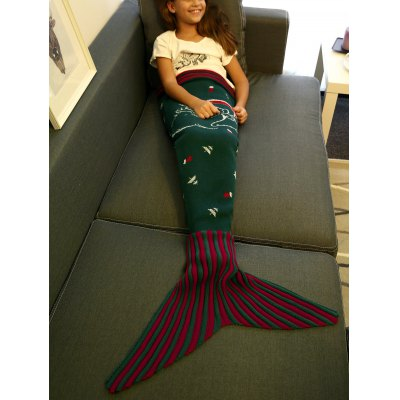 High Quality Santa Claus Pattern Knitting Mermaid Tail Blanket For Kid