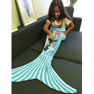 Snows and Mini-Train Pattern Knitting Christmas Mermaid Blanket
