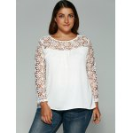 cheap Laciness Cutwork Crossover T-Shirt