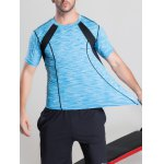Quick-Dry Color Block Selvedge Spliced Printed Round Neck Short Sleeve T-Shirt deal