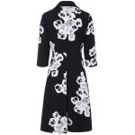 cheap 3/4 Sleeves Floral Print Flare Coat