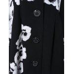 3/4 Sleeves Floral Print Flare Coat photo