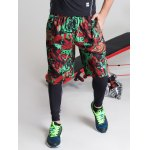 Color Block Spliced Letter Print Elastic Waist Basketball Shorts for sale