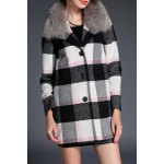 Plaid Wool Blend Fur Collar Coat