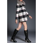 Plaid Wool Blend Fur Collar Coat for sale
