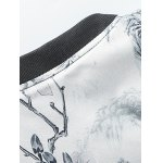 best Stand Collar Plus Size 3D Flower Chinese Painting Print Jacket