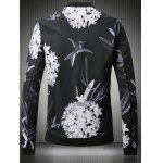 cheap Stand Collar Plus Size 3D Flower and Bird Print Jacket