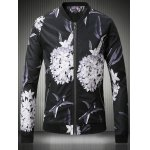 Stand Collar Plus Size 3D Flower and Bird Print Jacket