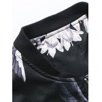 Stand Collar Plus Size 3D Flower and Bird Print Jacket deal