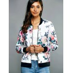 cheap Zippered Floral Print Splicing Jacket