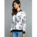Zippered Floral Print Splicing Jacket deal