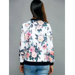 Zippered Floral Print Splicing Jacket for sale
