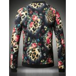 cheap Stand Collar Plus Size 3D Flower and Leopard Print Jacket