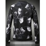 cheap Stand Collar Plus Size 3D Rose Print Bomber Jacket