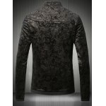 cheap Stand Collar Plus Size Gloden Floral Jacquard Velvet Zip-Up Jacket
