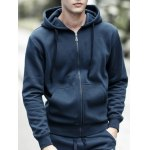 Buy Drawstring Hooded Long Sleeve Basic Zip-Up Hoodie 3XL DEEP BLUE