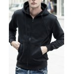 Buy Drawstring Hooded Long Sleeve Basic Zip-Up Hoodie 3XL BLACK