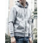 Buy Drawstring Hooded Long Sleeve Basic Zip-Up Hoodie 3XL GRAY