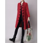 Chinese Style Button Up Slit Loose Long Trench Coat deal