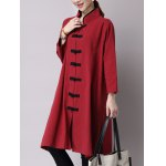Chinese Style Button Up Slit Loose Long Trench Coat