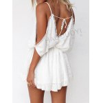cheap Spaghetti Straps Cold Shoulder Lace Top